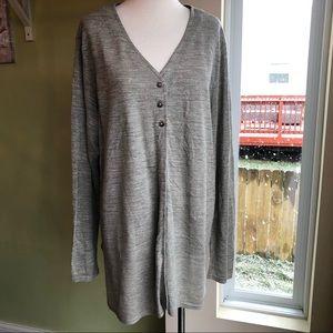 J. Jill gray linen long cardigan duster sweater XL